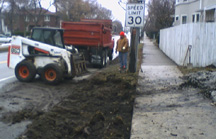 A temporary driveway was installed by Cruz Construction.