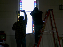 The stained glass windows were carefully removed and stored for refurbishment by Colorsmith Stained Glass.