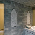 The lower level bath also has a walk-through whole body shower to a deep soaking tub.