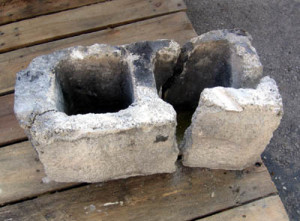 Many concrete blocks are found to be broken.