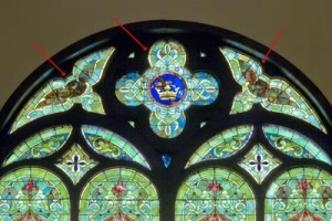 Three stained glass windows were removed by Botti Studio.